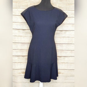 Elie Tahari Navy Mesh Shoulder Career Dress